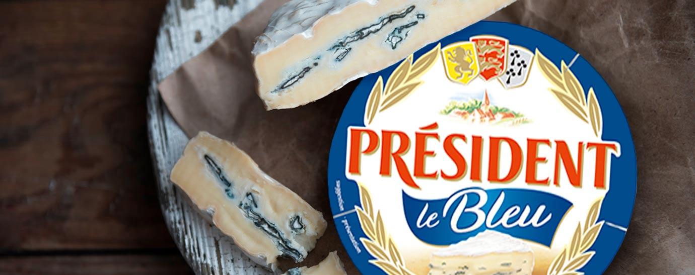 Tabla de madera con queso Camembert Président Blue
