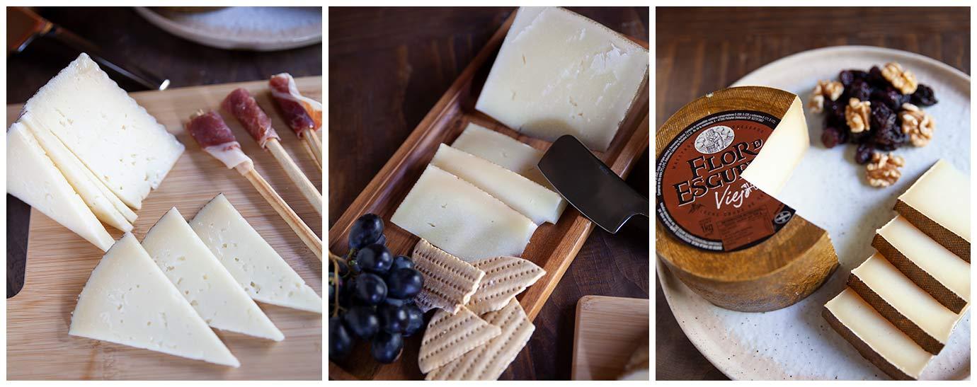 Bodegón de queso Flor de Esgueva Viejo con cuñas, ruda y un poco de jamón serrano