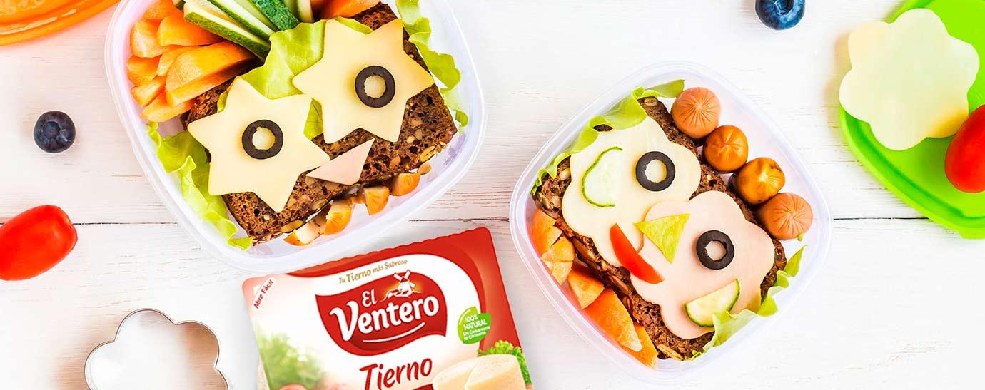 Sandwich divertido apra niños con lonchas de queso El Ventero