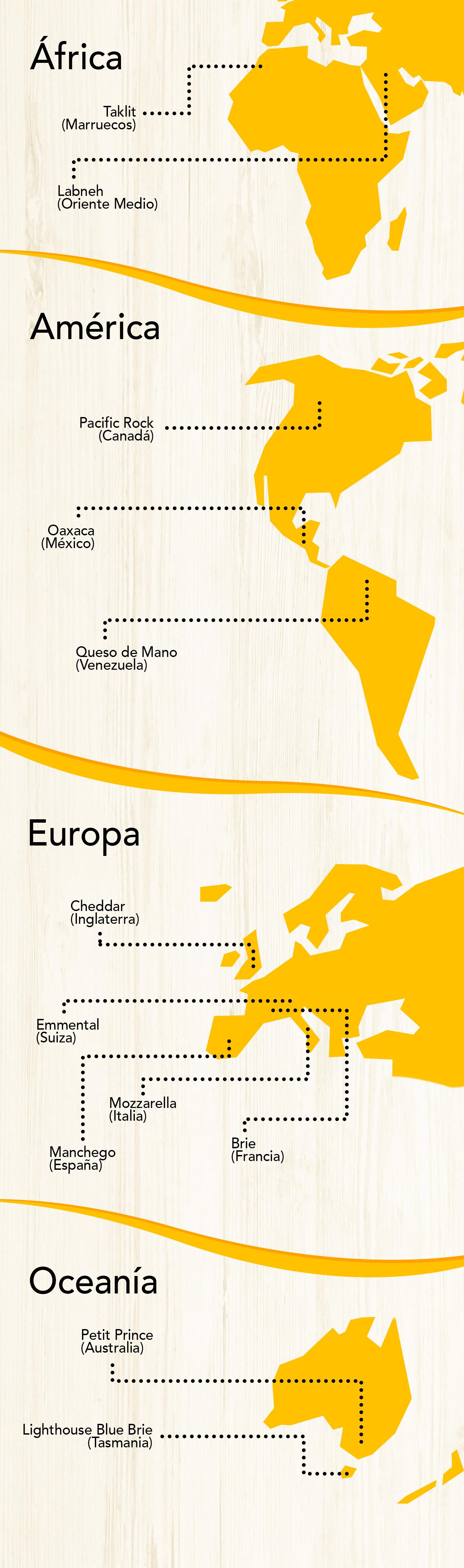 Mapa del mundo en el que se señalan diferentes quesos según su lugar de origen